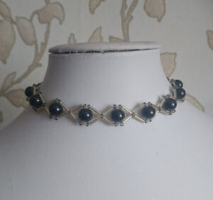 """Pearl & bugle Beaded CHOKER necklace gothic style BLACK glass 15"""" GOLD"""