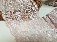 "Pretty 7""/17cm Light Dusty Pink Flat Galloon Lace Trimming. Sewing/Bridal/crafts"