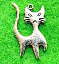 50Pcs. WHOLESALE Tibetan Silver 2-Sided CAT Charms Pendants Earring Drops Q1299