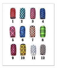 Nail art stencil stickers | mermaid checkered snake plad mosaic fishnet chain