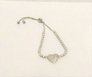 LOVELY Silver Heart Solitaire Friendship Bracelet with Cubic Zirconia Crystals