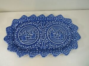 """Blue Bordallo Pinheiro Portugal 13 3/8"""" Serving Plate Tray with Rabbits #2"""