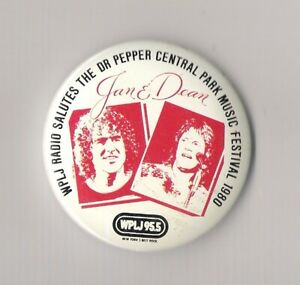 Jan & Dean WPLJ Dr. Pepper Central Park Music Festival button NYC 1980