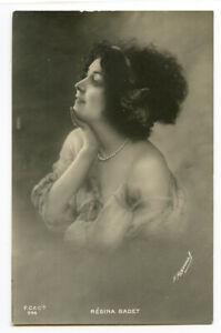 c 1907 Glamour Pretty Lady REGINA BADET French Dancer Vintage photo postcard