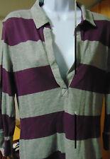 Tommy Hilfiger 3/4 sleeve Purple/gray striped Deep V plunge neck Top Large