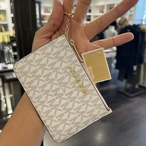 Michael Kors Key Ring Top Zip Coin Pouch ID Card Holder Vanilla PINK Wallet
