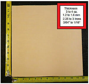 """12"""" x 12"""" Vegetable Tanned Cowhide 3 to 4 oz. Tooling Leather Piece, 1St. QLTY"""