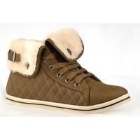 S512 - Girls Fur Lined Quilted Hi Top Trainer Shoes Ankle Boots - UK 10 - 2
