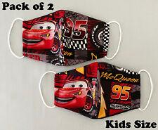 2 Pieces Kids Children Boys Junior Face Mask Reusable - Cars Lightning McQueen
