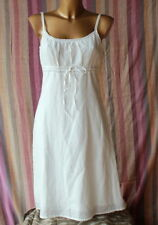 Esprit Sommer Leinen Kleid weiß 38 Träger Leinenkleid top zustand
