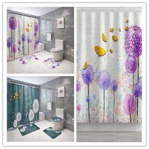 Dandelion Print Bathroom Shower Curtain Non-Slip Bath Mat Rug Toilet Lid Cover