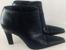 Women's Pre-owned Diba Black Leather Pointy Toe Booties Ankle Boots Size 9