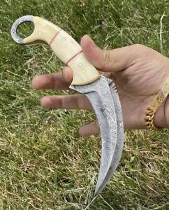 CUSTOM Hand forged Damascus Steel Hunting Karambit Knife W /Bull horn Handle