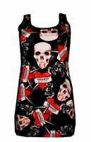 NEW GIRLS / LADIES SKULLS HEART TATTOO PRINT LONG VEST TANK TOP GOTH PUNK  EMO