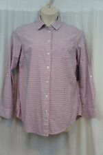 Tommy Hilfiger Top Sz L Tea Rose Pink Multi Textured Stripe Button Down Shirt