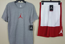 NIKE AIR JORDAN JUMPMAN OUTFIT SHIRT + SHORTS GREY RED WHITE NEW (SIZE SMALL)