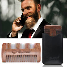 HR- BLUE ZOO MEN'S WOOD ANTI-STATIC DOUBLE SIDE BEARD HAIR COMB STYLING TOOL FAD