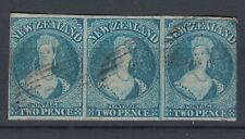 More details for new zealand 1862 2d blue imperf used strip of 3