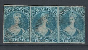 New Zealand 1862 2d Blue Imperf Used Strip of 3