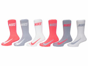 Nike Swoosh Toddler/Little Boy's Crew Socks 6-Pairs Pink/Grey/White Fits 10C-3Y