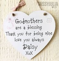 Godmothers are blessing Heart Gift Personalised Wooden Card Plaque W256