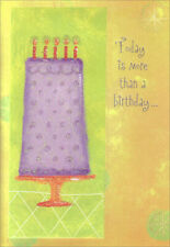 Tall Purple Cake Birthday Card - Greeting Card by Freedom Greetings