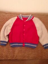 New hand knitted boys red and beige baseball jacket size 12-18 months