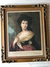 Elizabeth Mezzotint Colored Print after Thomas Gainsborough w/Rare Wooden Frame