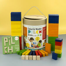 Colourful Wooden PILCH Bricks  Gymnastic Tube  Ecological Building Toy 18m
