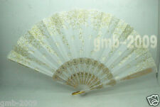 Spanish Style Flamenco Dance Party Wedding Lace Silk Folding Hand Held Fan White