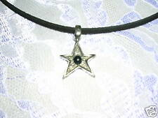 COOL SHAPED ROCK STAR w BLACK GEM SILVER PEWTER PENDANT ADJ NECKLACE