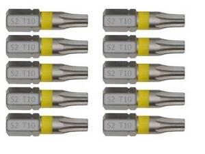 10 x TORX Bits T10 aus S2 Stahl Schraubendreher Aku Schrauber, Bit-Sortiment