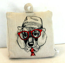 Dachsund Weiner Dog Printed Fabric Bag Door Stop 2.5lb wedge Red Glasses Hat Tie
