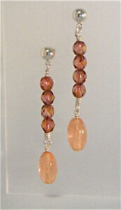 New Handmade Earrings Rose Gold Fire Polished Czech Beads Sterling Silver Wire