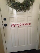 Merry Christmas Door decal vinyl  quote words wall Diy Holiday  FREE SHIPPING !!
