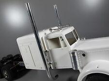 L&R Exhaust Pipe Stack + Mounting Plate Tamiya RC 1/14 King Grand Hauler Semi