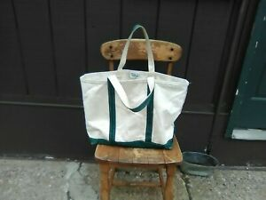 Vintage Green LL Bean Boat & Tote Canvas Bag Freeport Maine Label