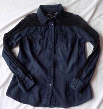 Style & Co Western Style blouse Jean Denim Long Sleeve Size S w/ Black Lace