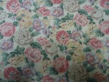 Vintage PINK, YELLOW, MAUVE & GREEN FLORAL Fabric Remnant ( 50cm x 50cm)