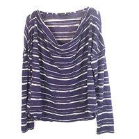 APT9 Women's Knit Top Sweater Size XL Purple White Stripe Long Sleeve Cowl Neck