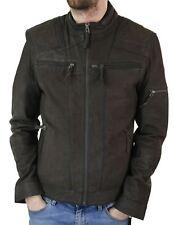 Mens Biker Motorcycle Vintage Distressed Brown Zip Short Leather Jacket Suede