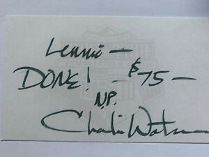 Charlie Waters Dallas Cowboys Autograph Index Card