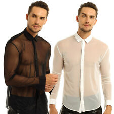 Mens See Through Mesh Sheer Shirt Long Sleeve Causal Top Shirts Tee Club Costume