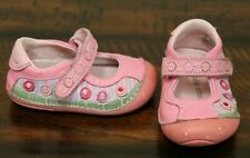 Stride Rite Pink Mary Jane Shoes sz 3.5 W Wide Toddler Girls Flex Sole Flowers
