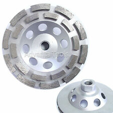 "5"" Standard Double Row Concrete Diamond Grinding Cup Wheel 5/8"" - 11 Threads"