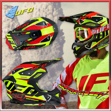 CASCO IN FIBRA CROSS ENDURO MOTARD UFO DIAMOND GIALLO 2018 TAGLIA S (55-56)