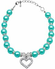 Mirage Pet Products Aqua Heart and Pearl Neckalce