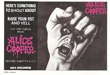 ALICE COOPER Raise Your Fist and Yell UK magazine ADVERT / mini Poster 8X6""