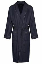 $340 HUGO BOSS MEN PAJAMA KIMONO BLUE POLKA DOT BATHROBE COTTON SLEEPWEAR ROBE S