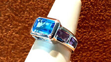 14k White Gold Cocktail Ring with Blue topaz & Amethyst size 6.75